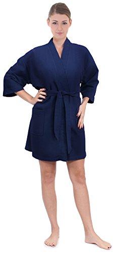 Women's Knee Length Waffle Weave Kimono Bathrobe, Short Spa Robes (Small/Medium, Navy)