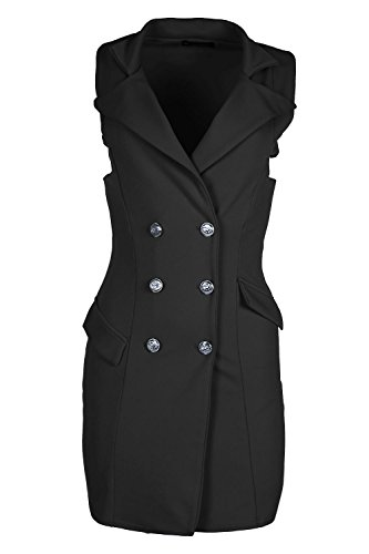 Womens Ladies Plain Golden Button Tuxedo Wrap Coat Collar a Line Dress (Double Breasted Cloak)