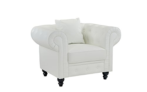 DIVANO ROMA FURNITURE Classic Scroll Arm Tufted Bonded Leather Accent Chair, White