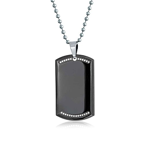 (Bling Jewelry Personalized Black Dog Tag Pendant Necklace for Men CZ Edge Silver Tone Stainless Steel 24 in Custom Engraved)