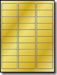 "600 Label Outfitters 2 5/8"" x 1"" Metallic Gold Foil Laser Permanent Adhesive address Labels – 20 Sheets"