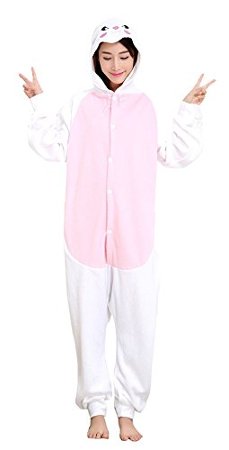 ABING Halloween Pajamas Homewear OnePiece Onesie Cosplay Costumes Kigurumi Animal Outfit Loungewear,Rabbit Adult L -for Height 167-175CM
