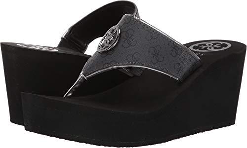 GUESS Women's Solene Black 9 M - Black Thong Wedge