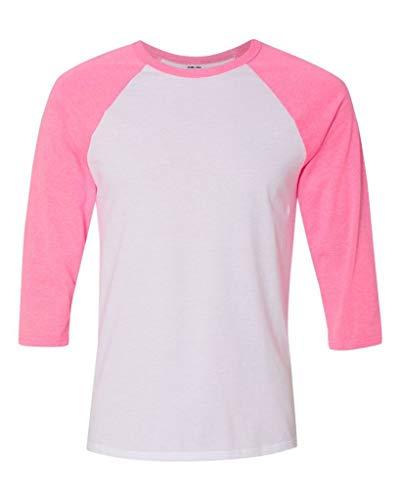 Joe's USA - Unisex Three-Quarter Sleeve Baseball Raglan T-Shirt -White/Neon - Jersey Joe Baseball