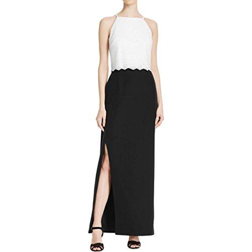 Aidan Womens Aidan Black Evening Lace Ivory by Mattox Dress Popover q55nStT1wR