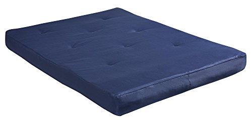 DHP 8' Cotton Twill Futon Mattress, Full, Navy