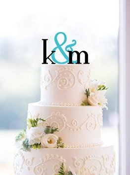 Buythrow Monogram Wedding Cake Topper - Custom Two Initials and Ampersand -