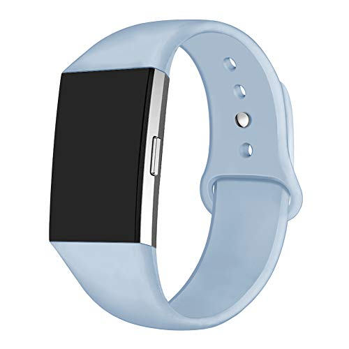 GHIJKL Sports Band Compatible Fit bit Charge 2, Soft Silicone Replacement Wristband for Fi tbit Charge 2,Women Men,Small, Light Blue