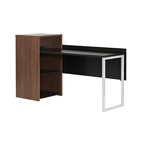 - South Shore Tasko Desk with Storage, Brown Walnut/Pure Black