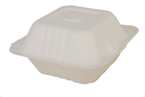 Southern Champion Tray 18905 ChampWare Molded Fiber White Clamshell Container, 6