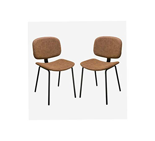 Wood & Style Furniture Leatherette Dining Chairs with Crisscross Stitch Design, Set of Two, Brown and Black Home Office Commerial Heavy Duty Strong Décor