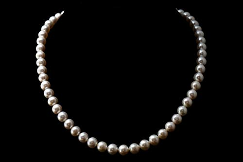 8.5 Mm White Pearl - White Freshwater Cultured Pearl Necklace 8mm - 8.5mm Genuine Cultured Freshwater Pearls (18 Inches)