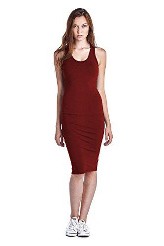 - LaClef Women's Sleeveless Basic Racer Back Tank Midi Cotton Casual Dress (Large, Burgundy)
