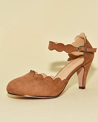 (Chase & Chloe Kimmy-74 Women's Vintage Mary Jane High Heel Pump (7.5 M US, Taupe Suede))