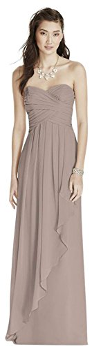 - Strapless Crinkle Chiffon Bridesmaid Dress with Cascade Skirt Style W10840, Biscotti, 26