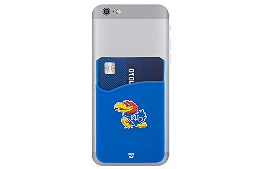 Kansas Jayhawks Adhesive Silicone Cell Phone Wallet/Card Holder for iPhone, Android, Samsung Galaxy, Most Smartphones ()