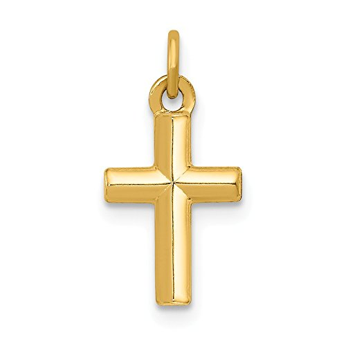 14k Yellow Gold Cross Religious Pendant Charm Necklace Latin Fine Jewelry Gifts For Women For -