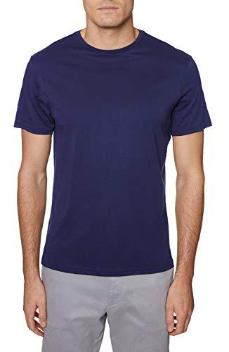 Hickey Freeman Silver Men's Short Sleeve Pima Cotton Crew Neck T-Shirt, Navy, Medium