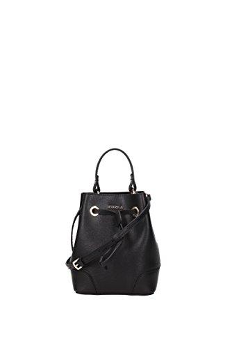 Furla Women's Stacy Mini Drawstring Bag, Onyx, One Size by Furla
