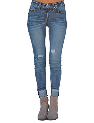 Luyeess Womens Blue Casual High Waist Denim Distressed Slim Fit Stretchy Skinny Jeans Large