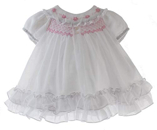 Sarah Louise Newborn Girls White Voile Dress Ruffle Hem Pink Embroidery NB