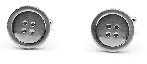(Stephanie Imports Men's Platinum-Plated Button Shaped Cufflinks in Gift Box)