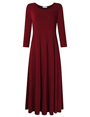 VeryAnn Women's 3/4 Sleeve Midi Dress Flare Casual Dress with Pocket