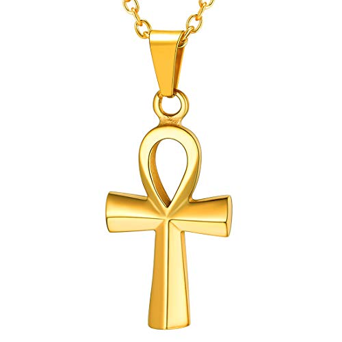 U7 Coptic Ankh Cross Necklace Religious Jewelry with 2.5mm Rolo Link Chain 22