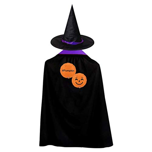 Smile Pumpkin Kids' Witch Cape With Hat Simple Vampire Cloak For Halloween Cosplay -