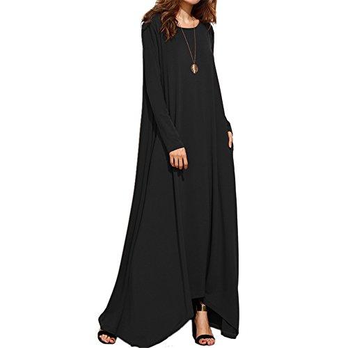 Coton Manches Courtes Casual Femmes Celmia Patchwork Colorblock Bouffante Longue Robe Noire-1