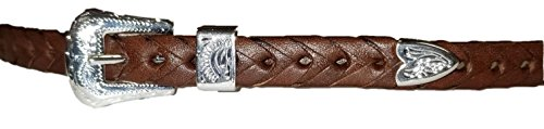 (M & F Western Brown Braided Leather Hat Band with Tooled Rectangle Conchos)