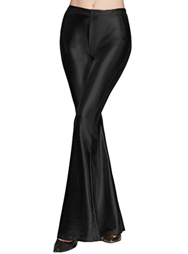 [Felice Lady's Shiny Bell Bottom Slim Fit High Waist, Retro 70s Glam Flare Wide Leg Pants,Black,XXL] (70s Look For Women)