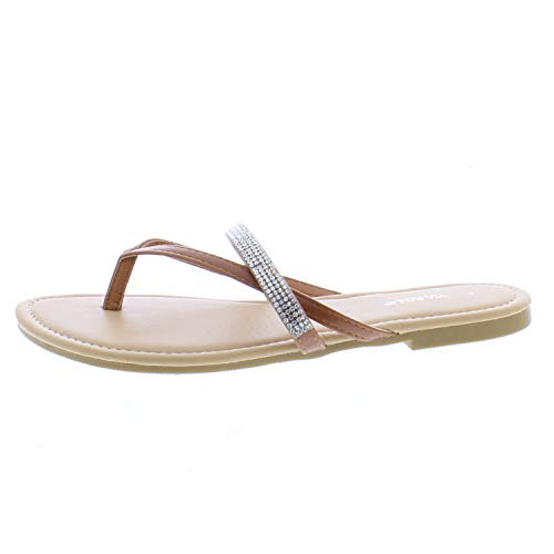26 Accessories Via RosaWomen's Thong Sandal with Rhinestone Detail, Cognac 7