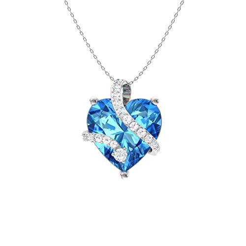 Diamondere Natural and Certified Heart Cut Blue Topaz and Diamond Wrap Heart Petite Necklace in 14k White Gold | 1.68 Carat Pendant with Chain