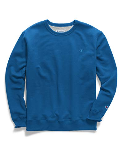 (Champion Men's Powerblend Fleece Pullover Sweatshirt, deep Hotline Blue Medium)