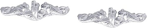 - MilitaryBest Navy Submarine Dolphin Lapel Pin - Silver 2 Pack