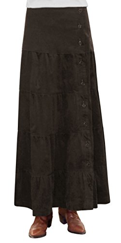 Baby'O Women's Long Ankle Length Tiered Corduroy Skirt (Small, Dark Brown)
