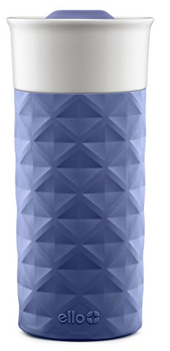 Ello Ogden BPA-Free Ceramic Travel Mug with Lid, Denim, 16 Oz.