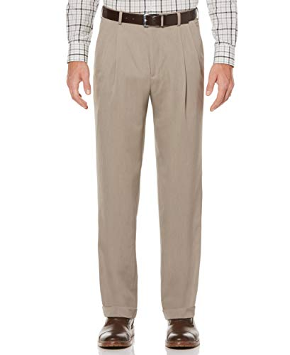 (Perry Ellis Men's Classic Fit Elastic Waist Double Pleated Cuffed Pant, Simply Taupe, 36x30)