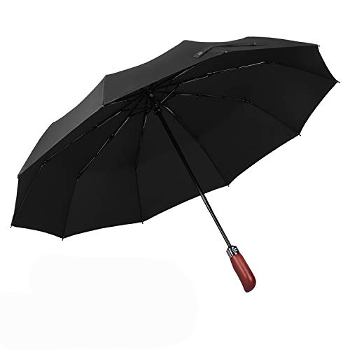 Auto Open&Close Large Folding Umbrella with Wood Handle,Portable Windproof Collapsible Umbrella with Gift Box- Black