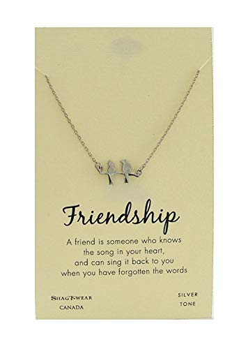 Shag Wear Animal Inspirations Quote Pendant Necklace (Friendship, Birds Pendant)