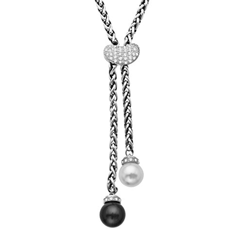 1/4 ct Diamond, Onyx, and Freshwater Cultured Pearl Lariat Necklace in Sterling ()