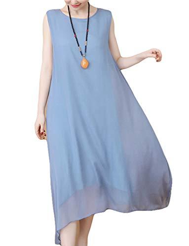 HÖTER Women's Oriental Beauty Folk Style Irregular Maxi Painting Cotton Linen Casual 2-Pieces Loose Dress(M-2XL)
