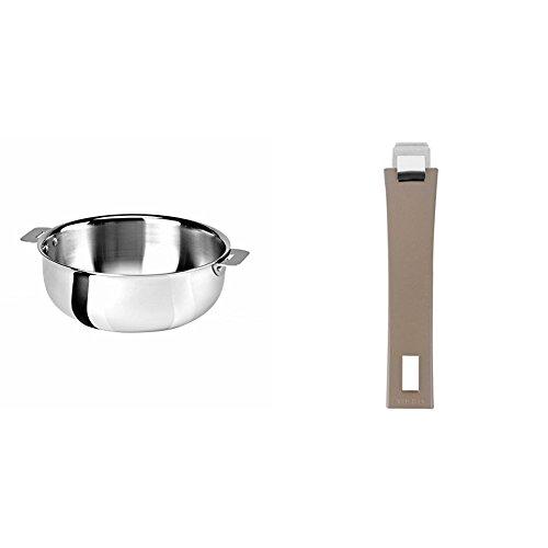 Cristel SR22QMP Saucier, Silver, 3 quart with Cristel Mutine Pmat Handle, Long, Taupe by