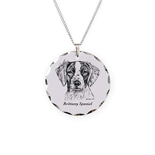 (CafePress Brittany Spaniel Charm Necklace with Round)
