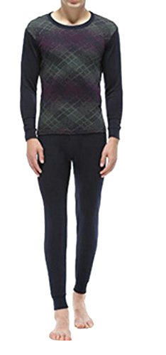 today-UK Men Winter Warm Jacquard Crewneck Print Soft Thermal Underwear Set 2