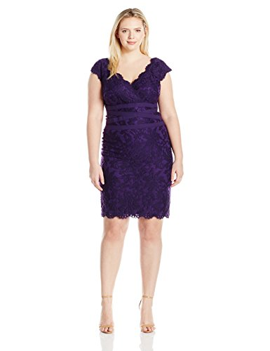 Tadashi Shoji Women's Plus-Size V-Neck Embroidered Lace Dress