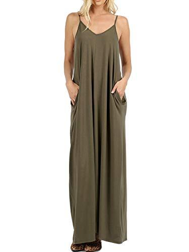 MixMatchy Women's Summer Casual Plain Flowy Pockets Loose Beach Cami Maxi Dress Dark Olive 1X (Spaghetti Straps Sheath Floor)
