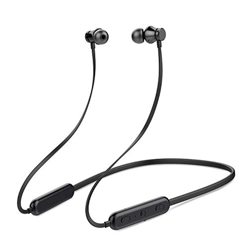 KINGWorld Bluetooth Headphones Neckband 20Hrs Playtime V5.0 Wireless Headset Sport Noise Cancelling Earbuds w/Mic for Gym Running Compatible with iPhone Samsung Android (Black)