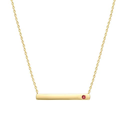 PAVOI 14K Gold Plated Swarovski Crystal Birthstone Bar Necklace | Dainty Necklace | Gold Necklaces for Women | ()